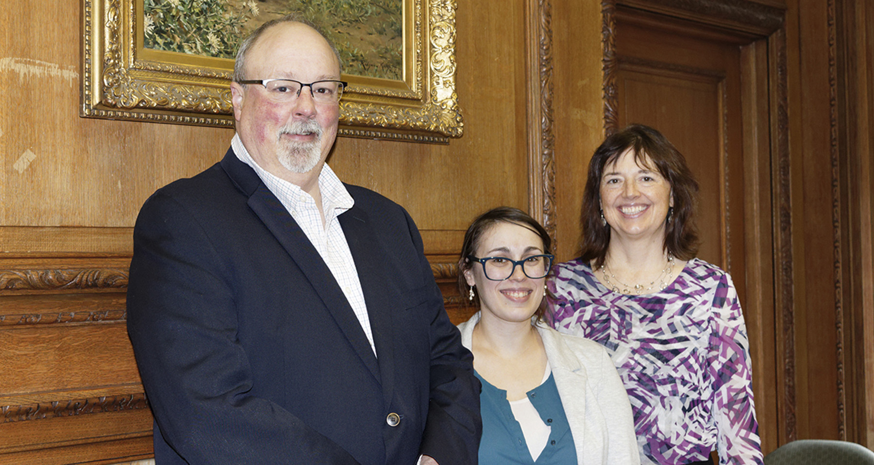 Left to right: Mike Makowski, Anne Arnold and Linda Peteanu